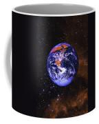 Earth In Space With Gaseous Nebula And Coffee Mug