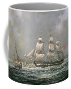 East Indiaman Hcs Thomas Coutts Off The Needles     Isle Of Wight Coffee Mug by Richard Willis