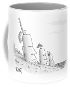 Easter Island Statues Have Straws And Umbrellas Coffee Mug