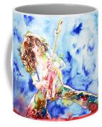 Eddie Van Halen Playing The Guitar.1 Watercolor Portrait Coffee Mug