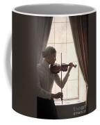 Edwardian Woman Playing Violin At The Window Coffee Mug