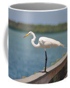 Egret On A Pier Coffee Mug
