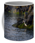 Egret On The Rocks Coffee Mug