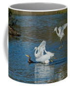 Egrets Robbing A Cormorant Coffee Mug