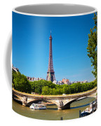 Eiffel Tower And Bridge On Seine River In Paris France Coffee Mug