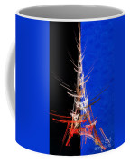 Eiffel Tower In Red On Blue  Abstract  Coffee Mug