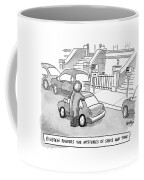 Einstein Is Seen Standing Next To A Parked Car Coffee Mug by Robert Leighton