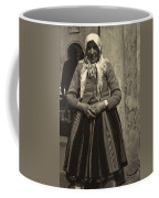 Elderly Woman In Black And White Coffee Mug