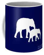 Elephants In Navy And White Coffee Mug
