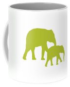 Elephants In White And Chartreuse Coffee Mug