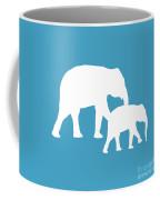 Elephants In White And Turquoise Coffee Mug