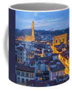 Elevated Night View Of Central Florence Coffee Mug