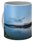 Elevated View Of A Harbor At Sunset Coffee Mug