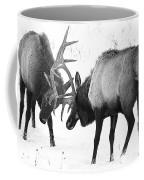Elk Fighting Black And White Coffee Mug