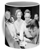 Elvis Presley Signing Autographs For Fans 1956 Coffee Mug