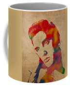 Elvis Presley Watercolor Portrait On Worn Distressed Canvas Coffee Mug