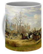 Emperor Franz Joseph I Of Austria Hunting To Hounds With The Countess Larisch In Silesia Coffee Mug by Emil Adam