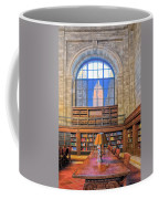 Empire State Building At The New York Public Library Coffee Mug
