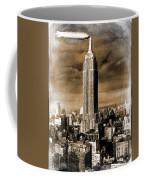 Empire State Building Blimp Docking Sepia Coffee Mug