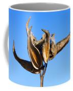 Empty Milkweed Pods Against Blue Sky Coffee Mug