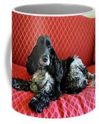English Cocker Spaniel On Red Sofa Coffee Mug by Catherine Sherman