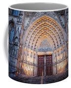 Entrance To The Barcelona Cathedral At Night Coffee Mug