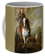 Equestrian Portrait Of Prince Eugene De Savoie 1663-1736 C.1700-10 Oil On Panel Coffee Mug
