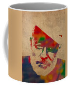 Ernest Hemingway Watercolor Portrait On Worn Distressed Canvas Coffee Mug