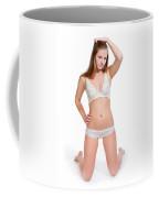 Erotic Blonde In White Lingerie Coffee Mug