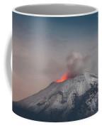Eruption Of A Volcanoe At Night Coffee Mug