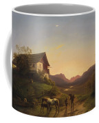 Evening Mood In Front Of A Wide Landscape With Horses Coffee Mug