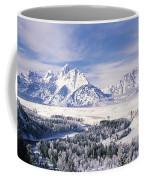 Evergreen Trees On A Snow Covered Coffee Mug