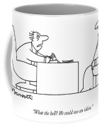 Exhausted Businessman Hires An Exaggeratedly Coffee Mug