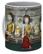 faithful Buddhist monk praying at Buddha Statues in SHWEDAGON PAGODA Coffee Mug