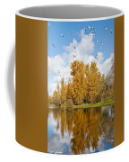 Fall Colors Clouds And Western Gulls Reflected In A Pond Coffee Mug