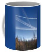 Fall Landscape With Jet Vapor Trails Coffee Mug