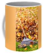 Fall Leaves With Rake Coffee Mug