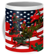Fallen Toy Soliders On American Flag Coffee Mug by Amy Cicconi