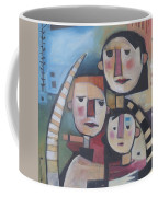 Family In Garden With Cat Coffee Mug