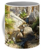 Fan Palm Leaves And Shadows Over Andreas Creek Rocks In Indian Canyons-ca Coffee Mug