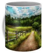 Farm - Fence - Every Journey Starts With A Path  Coffee Mug