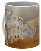 Farm Fence On Foggy Autumn Day Coffee Mug