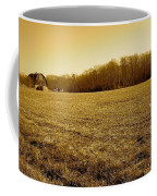 Farm Field With Old Barn In Sepia Coffee Mug
