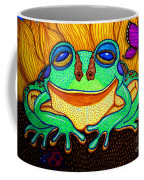 Fat Green Frog On A Sunflower Coffee Mug