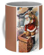 Father Christmas Popping Down The Chimney To Deliver Gifts To The Good.  Coffee Mug