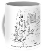 Father Speaks To Son As They Walk Hand In Hand Coffee Mug