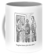 Fbi Agents At A Woman's Door Coffee Mug
