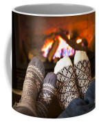 Feet Warming By Fireplace Coffee Mug