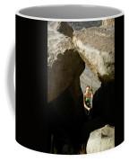 Female Belaying Between Rocks Coffee Mug