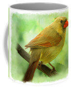 Female Cardinal In Elm Tree - Digital Paint Coffee Mug